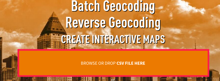 drag and drop csv file for batch geocoding