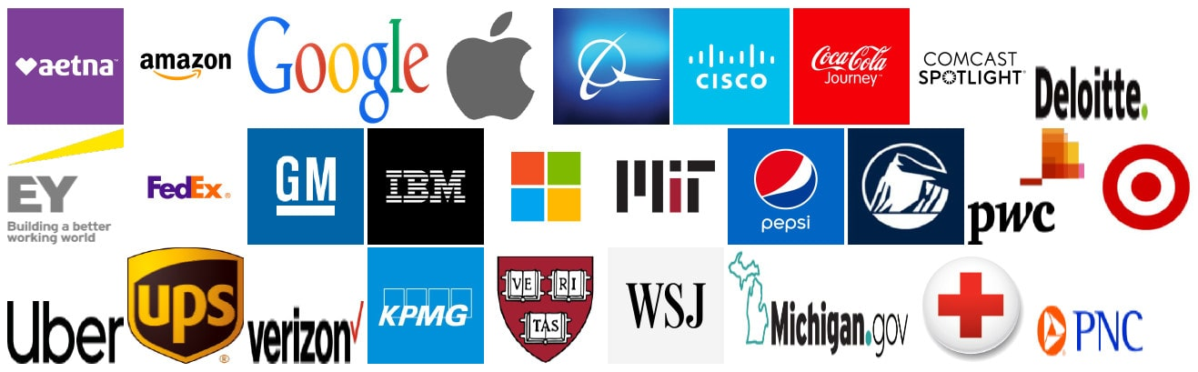 aetna-amazon-google-apple-boeing-cisco-cocacola-comcast-deloitte-ey-fedex-gm-ibm-uber-microsoft-mit-pepsi-prudential-pwc-target-ups-verizon-kpmg-harvard-wsj-redcross-pnc