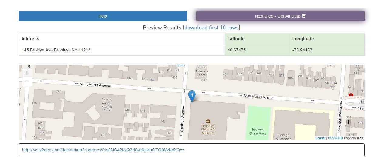 give ability to preview first 10 geocoded results