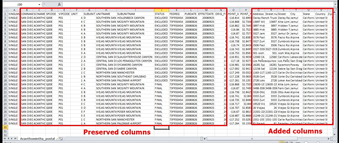 added columns to geocoded file