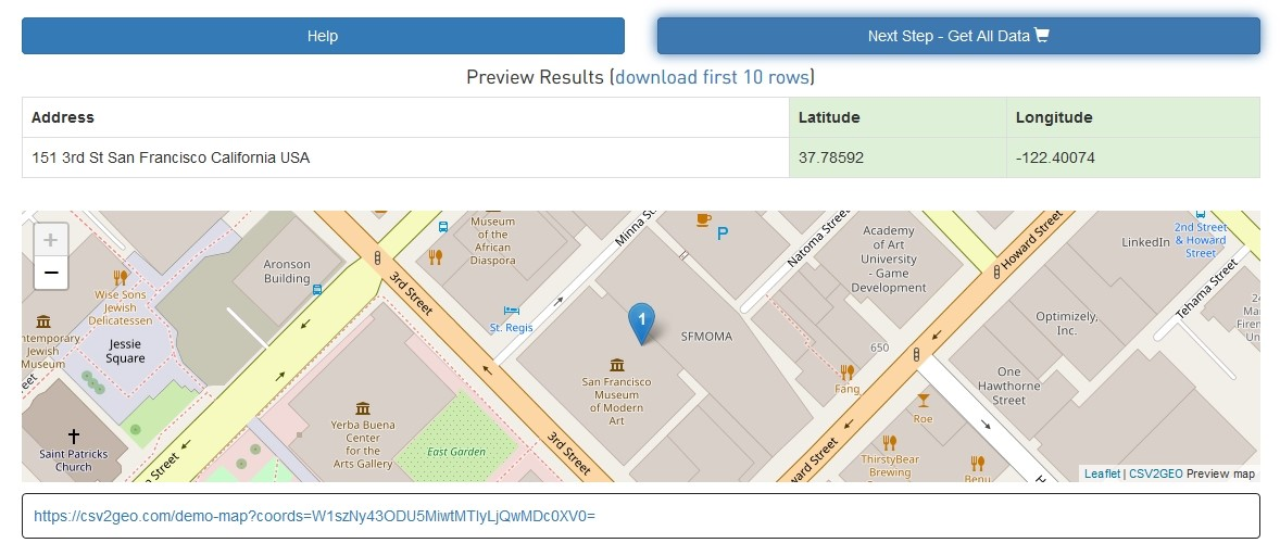Display first 10 geocoded results for verification