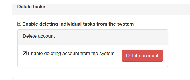 Selected account to delete from the system