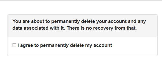 message back after deleting account for GDPR