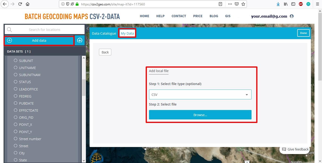 Geocoded data automatically creates Interactive map
